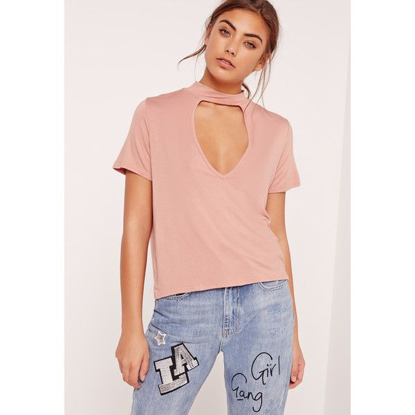 Missguided Choker Neck T Shirt ($26) ❤ liked on Polyvore featuring tops, t-shirts, pink, stretch top, viscose tops, red tee, rayon tops and pink t shirt