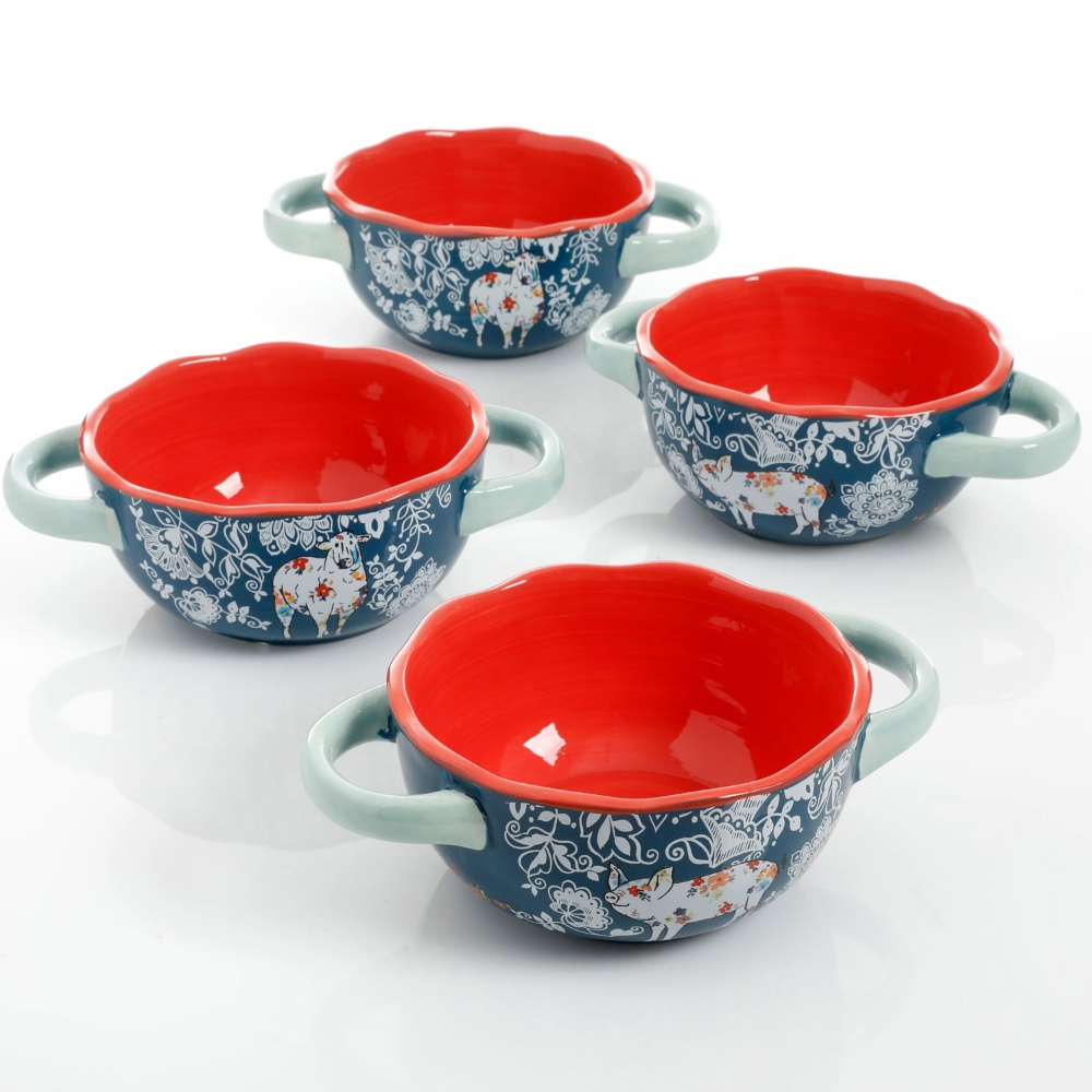 Urban Market By Gibson Life On The Farm 4 Pack 6 Inch Soup Bowls With Handles Blue