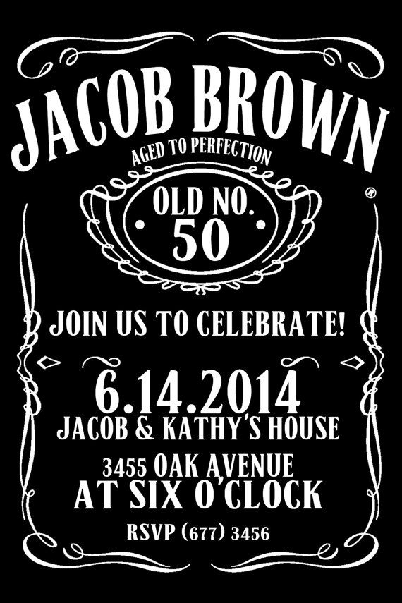 Jack Daniels Style Birthday Invitation 50th by ElegantPrintables ...