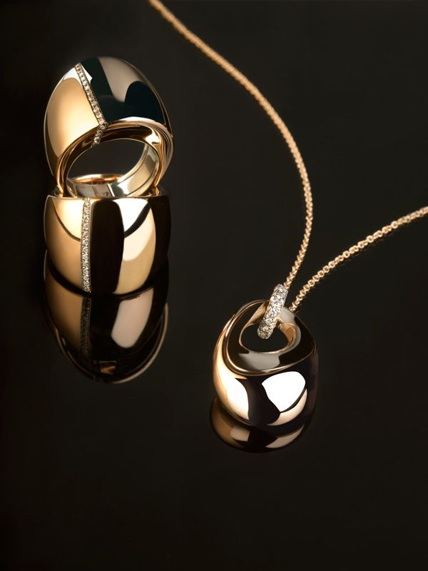 Pink and white gold rings and pendant with diamonds - Kult Collection by K di Kuore. kdikuore.com