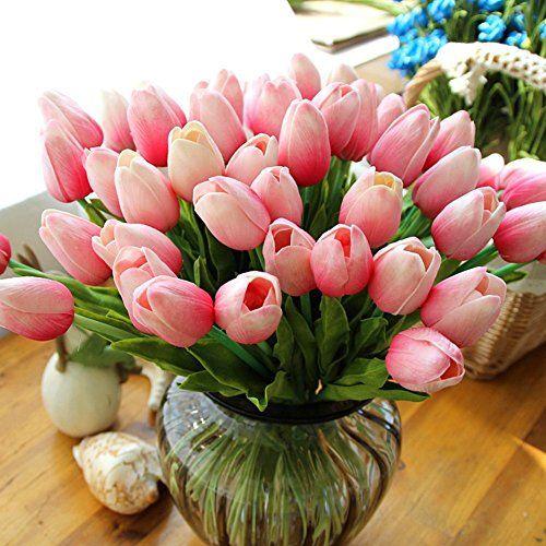 Home Decor 12pc Set Pu Stunning Holland Mini Tulip Flowe Https Www Amazo Artificial Flower Bouquet Artificial Bouquet Artificial Silk Flower Arrangements