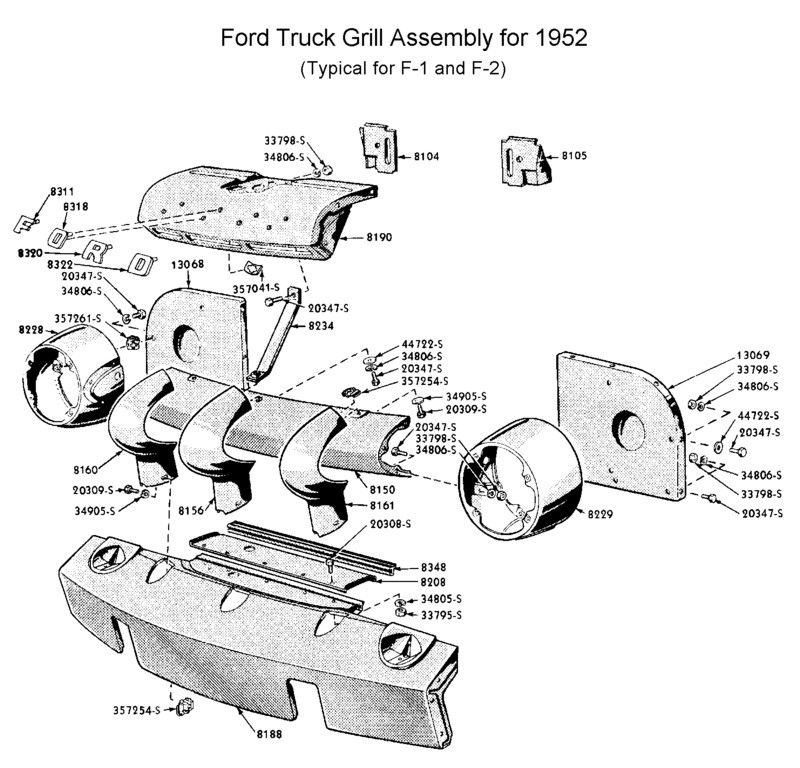 1952 Ford F1 Parts There is a rubber seal (8348) which
