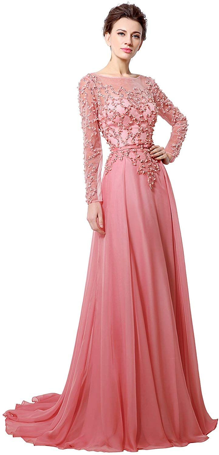 Clearbridal womenus sheer neck coral chiffon prom dress long sleeve