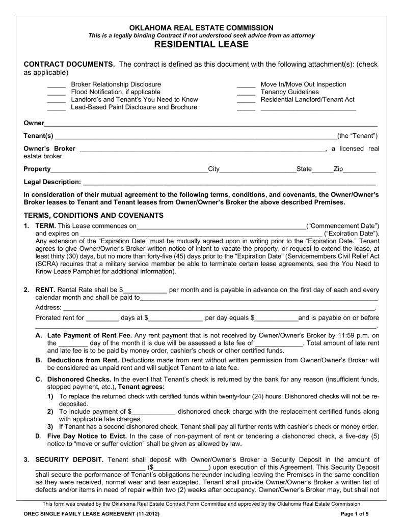 Free Oklahoma Standard Residential Lease Agreement Template Word With Free Residentia Rental Agreement Templates Lease Agreement Free Printable Lease Agreement