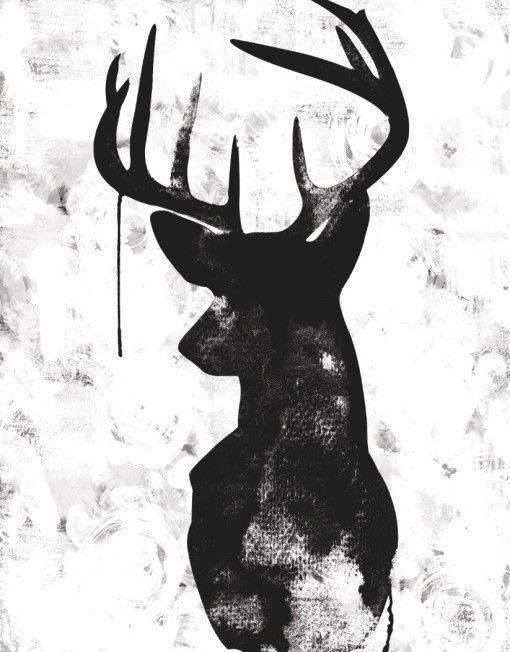 Urban road oh deer white black canvas print