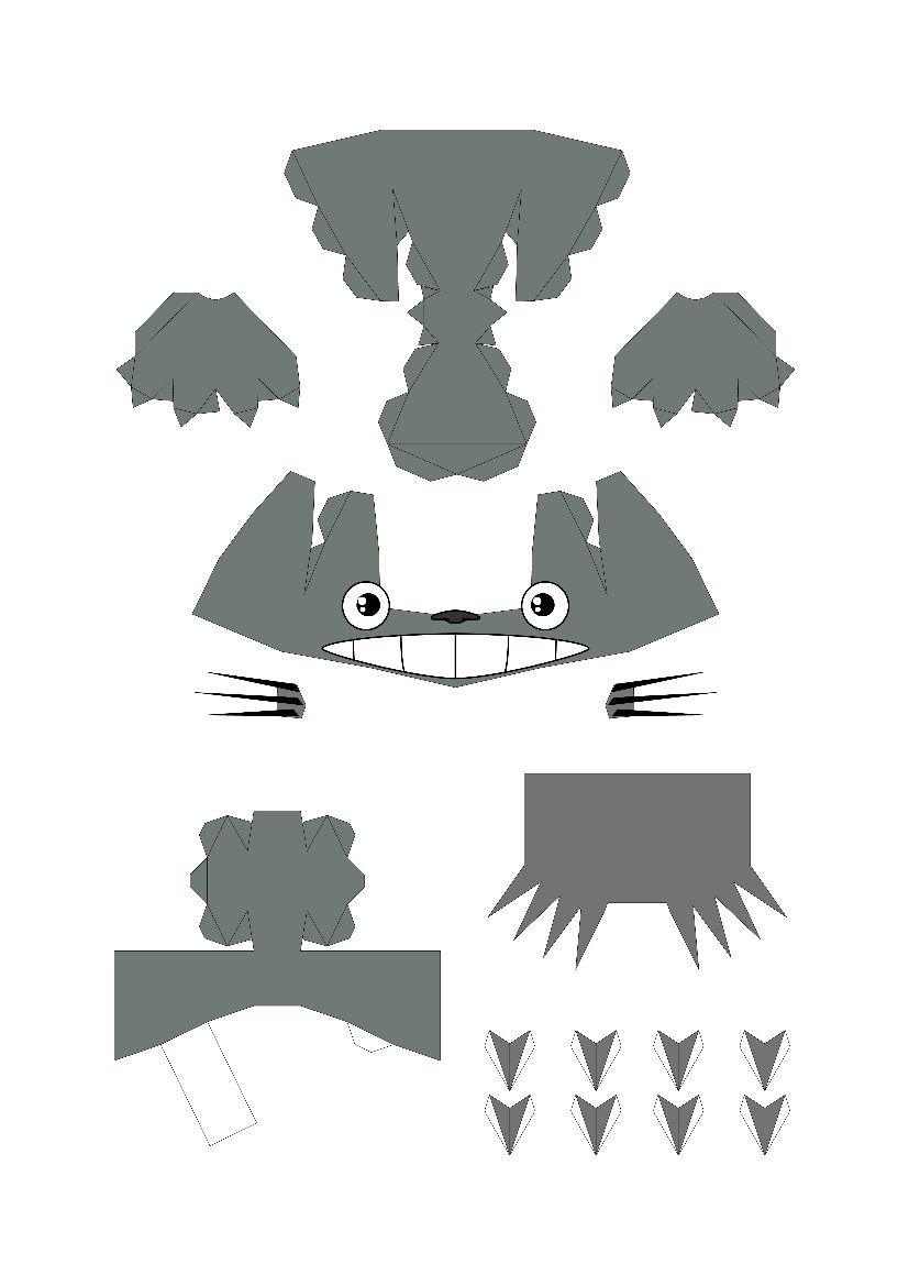 Totoro Papercraft Template  Teaching Kids D Printing