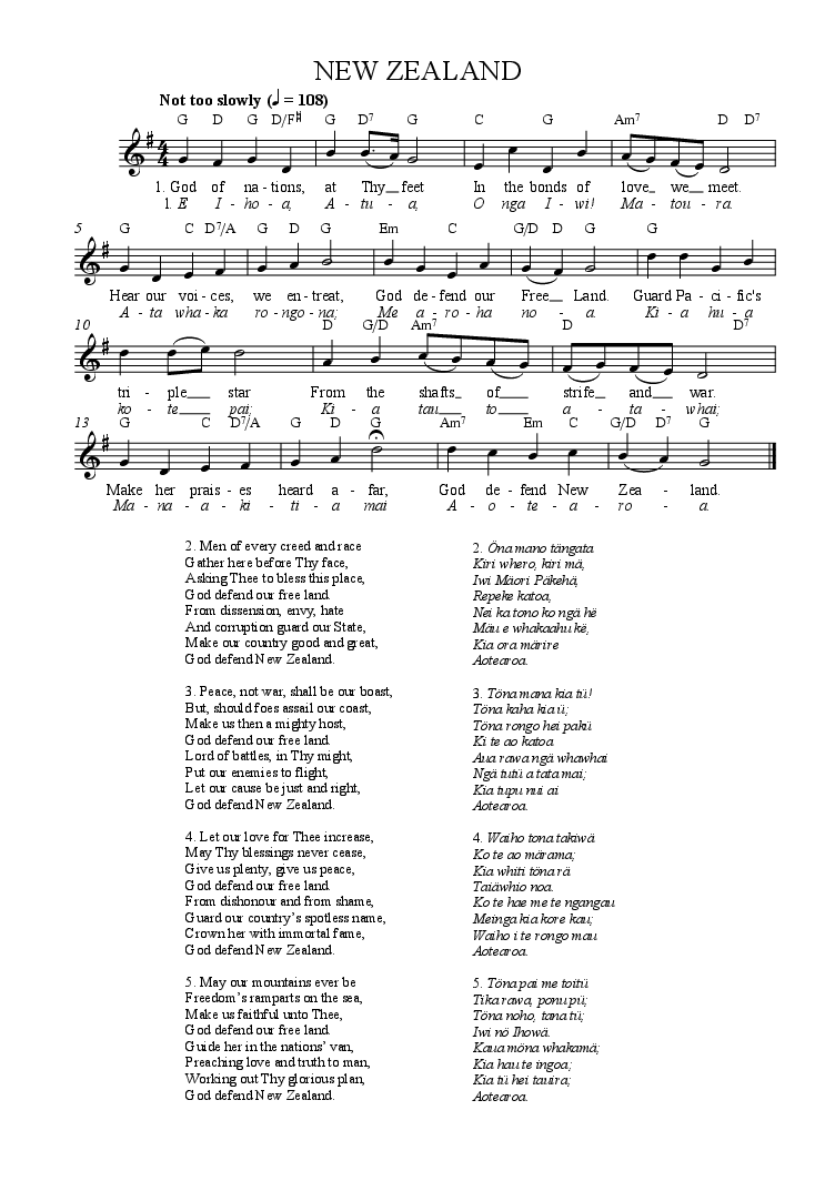 NEW ZEALAND - National Anthem (Tune, words, chords) for