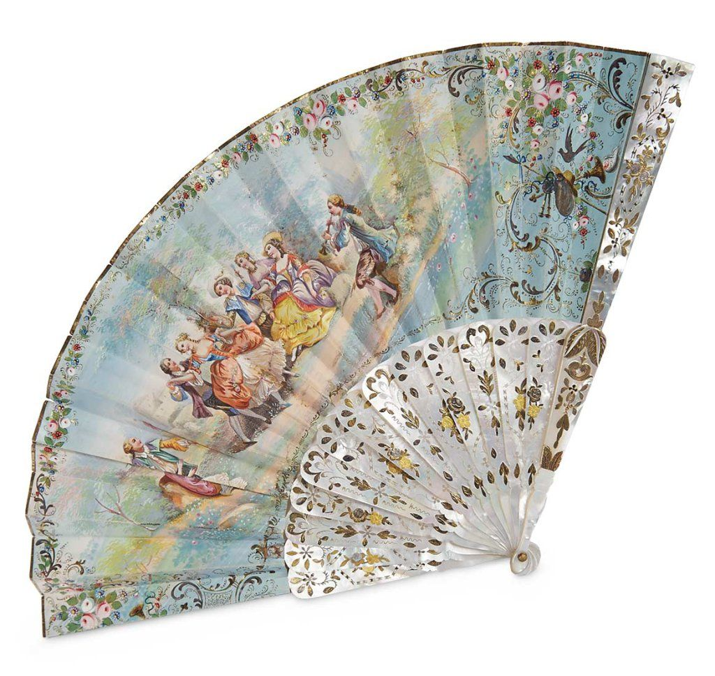 French Mother-of-Pearl Fan with Hand-Painted 18th Century Scene 400/700