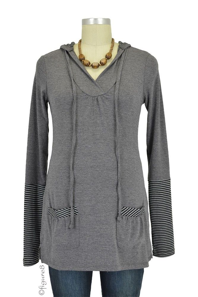 Riley Nursing Hoodie in Heather Charcoal with Stripes