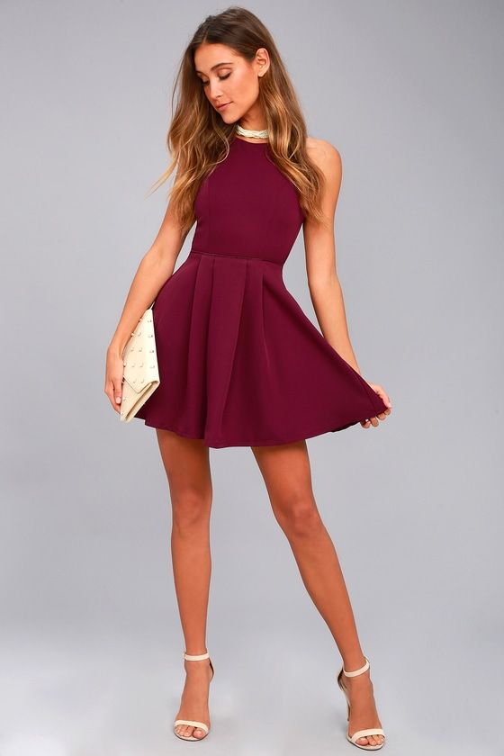 4cc23a39ed1a8 Party Hop Burgundy Backless Skater Dress in 2019 | Dresses | Dresses ...