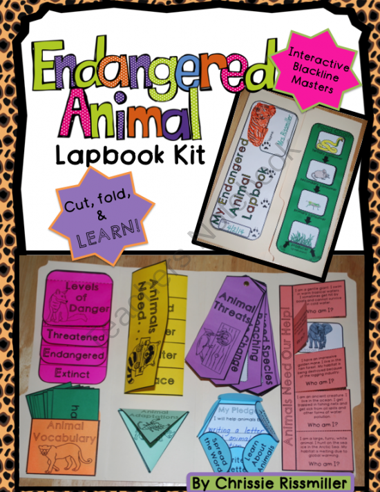 Endangered Animals Lapbook Interactive Kit from Chrissie