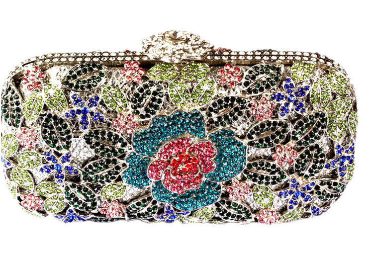 01e56f16d4 Metal Luxury Hollow Cut Flower Crystal Clutch Wedding Purse in 2019 ...