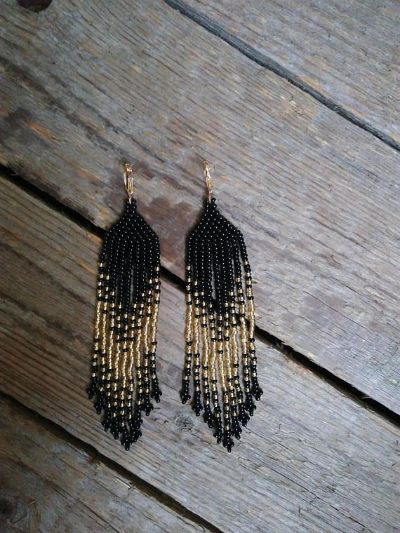 Black And Gold Beaded Earrings Seed Bead Czech Gl Dange Beautiful Ta
