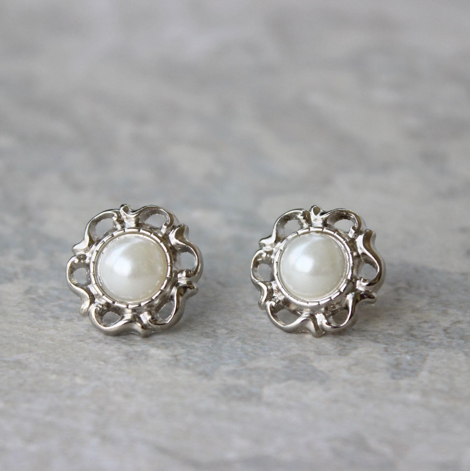 Pearl Bridesmaid Earrings Wedding Jewelry Inexpensive Filigree Silver And White