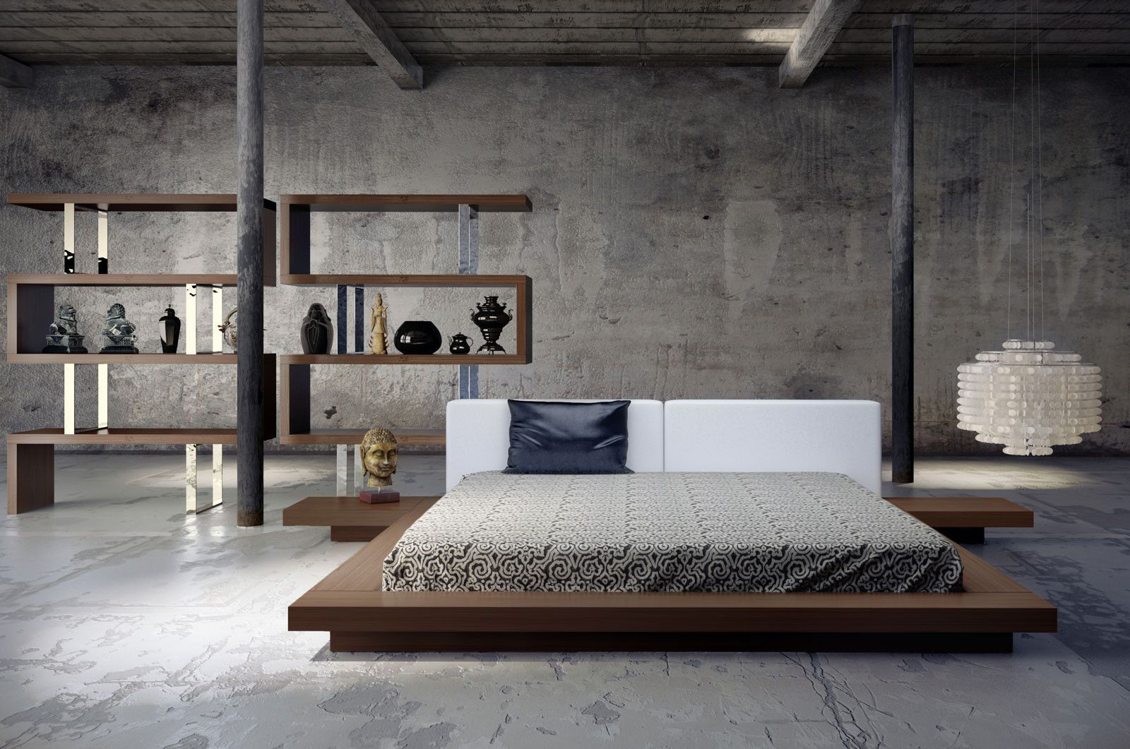 Worth White Leather Platform Bed Minimalist Home Decor