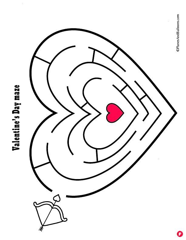 Fun free printable Valentine's day worksheets for preschool Fun Valentine's day mazes, counting, pa