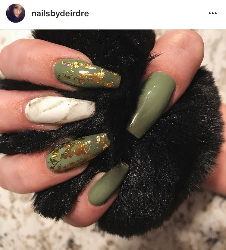 Olive green nails with gold flakes in 2019