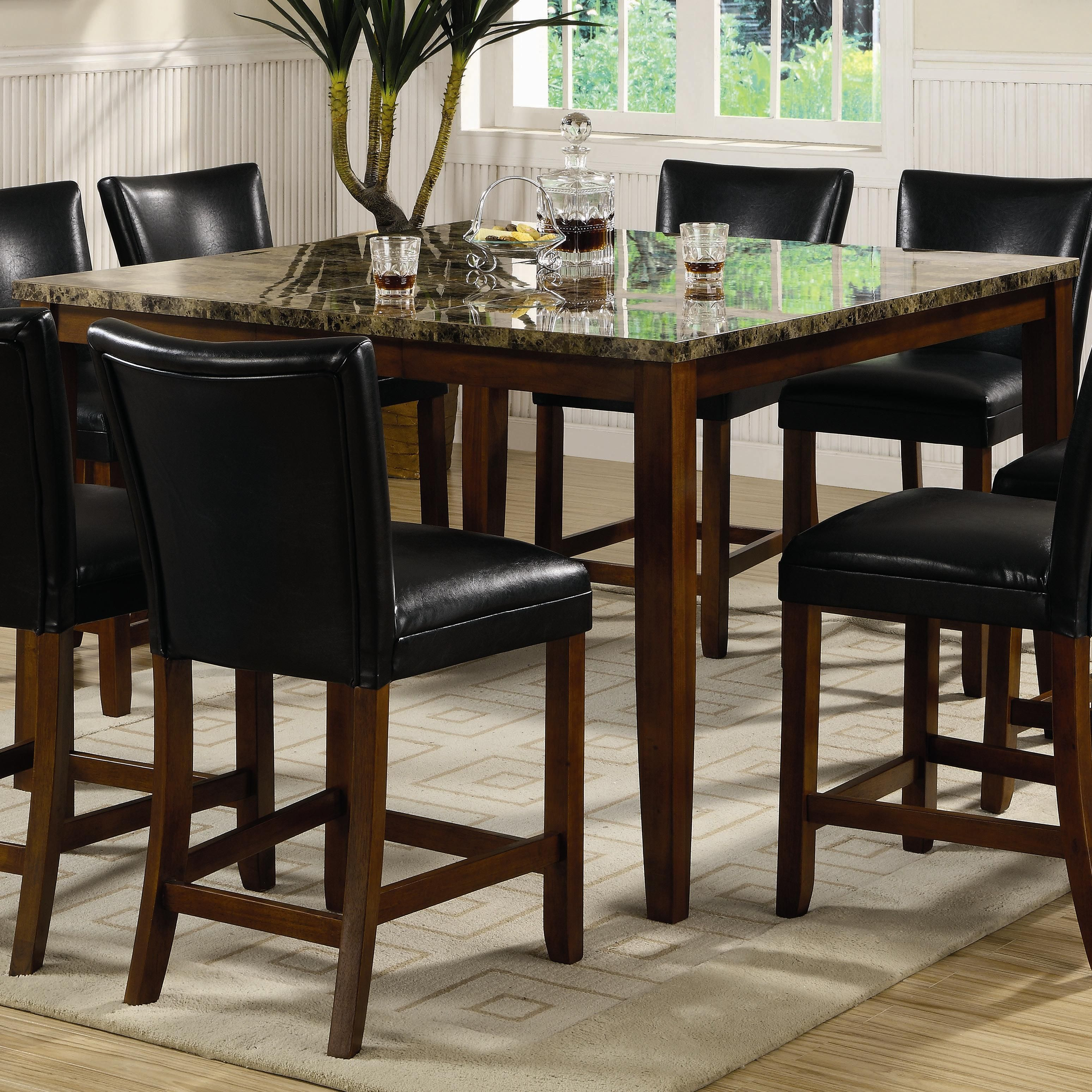 BribeCoaster Furniture Telegraph Counter Height Dining Set With Faux Marble  Top Cheaper In New Mexico US