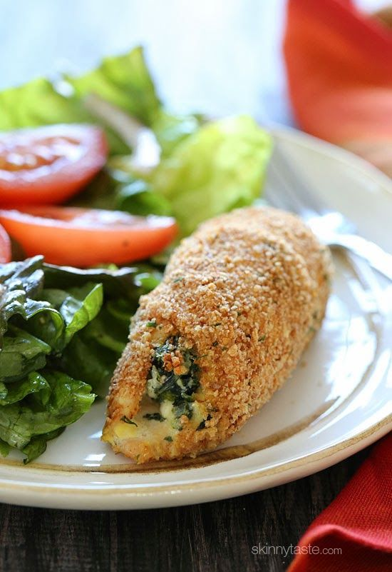 Spinach and Feta Stuffed Chicken Breasts | Skinnytaste (replace feta and ricotta with mozzarella and cottage cheese. Maybe add other veggies or tomato sauce to give it more Italian taste)