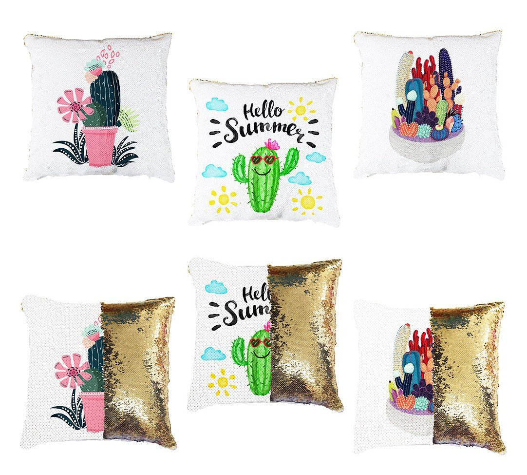Personalised Floral Any Name Magic Reveal Gold Sequin Cushion Cover Gift 5