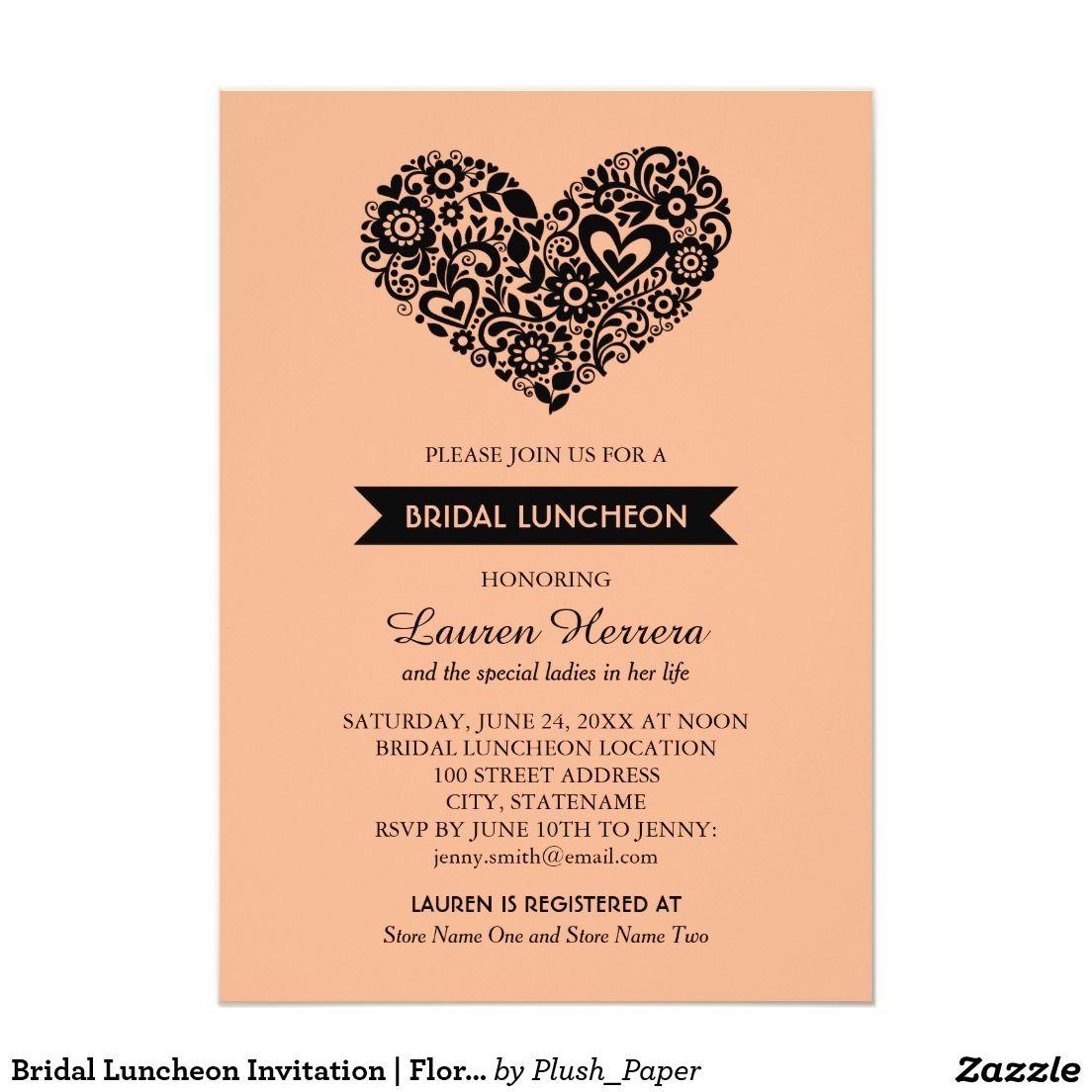 Bridal Luncheon Invitation | Floral Heart Design | WEDDING: BRIDAL ...