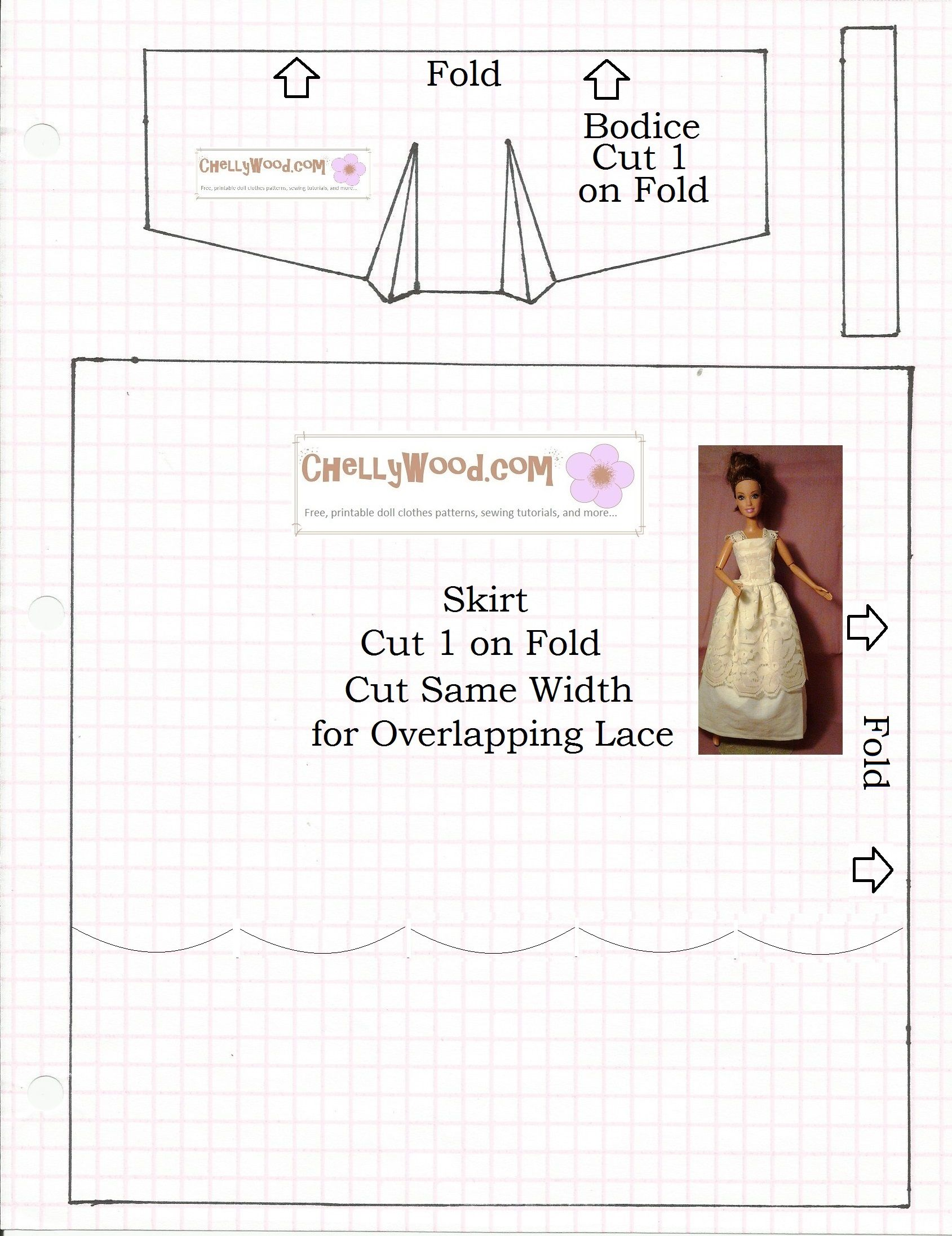 Image: sewing pattern for fashion doll strapless or lace-strap ...