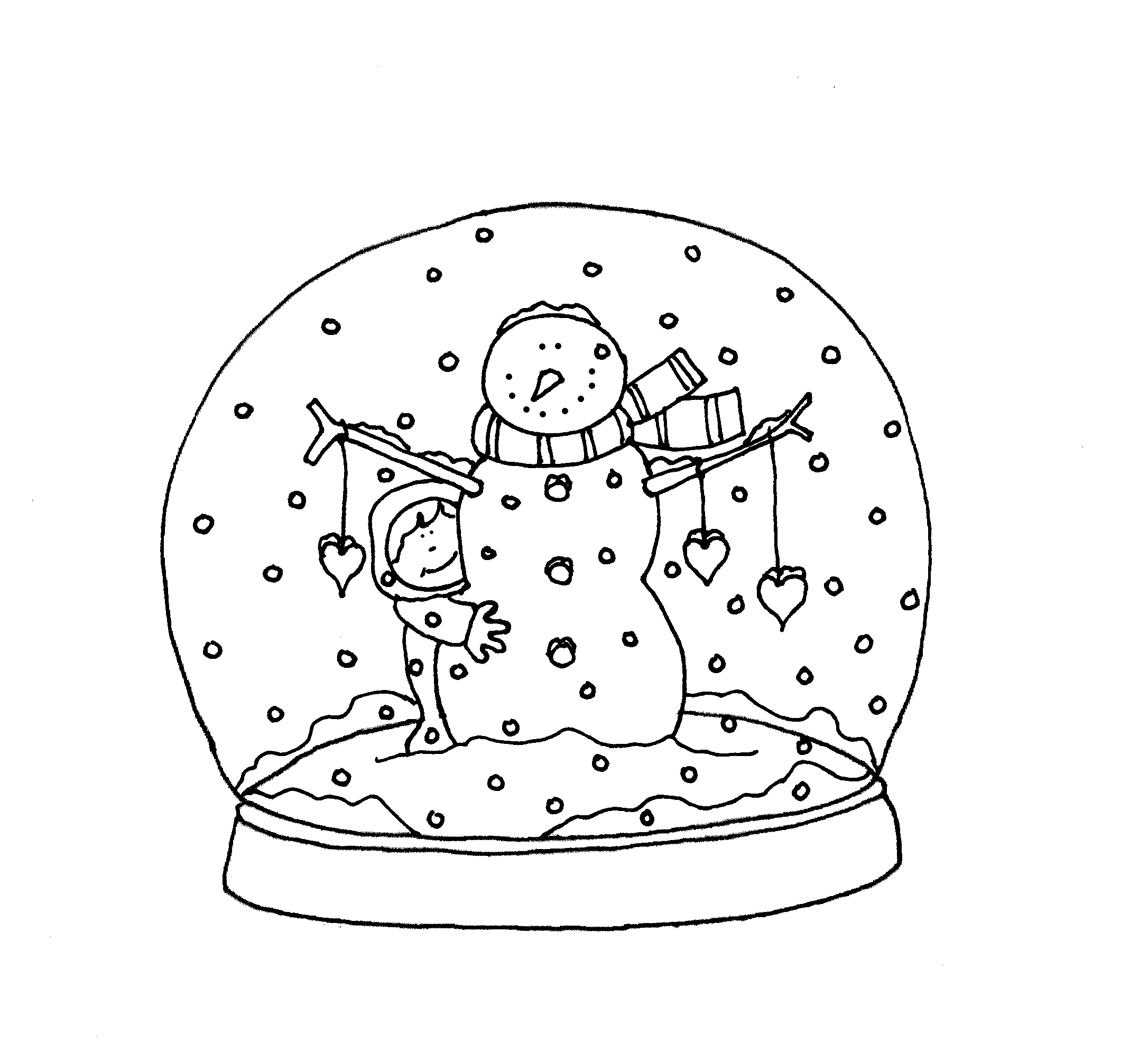 snowman globe  printables  christmas colouring pages