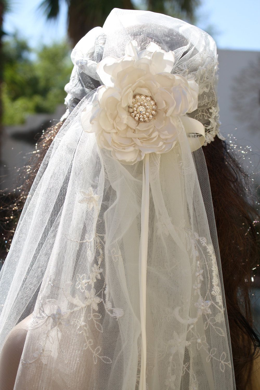 Vintage us style bandeau bridal cap veil full lace train wedding