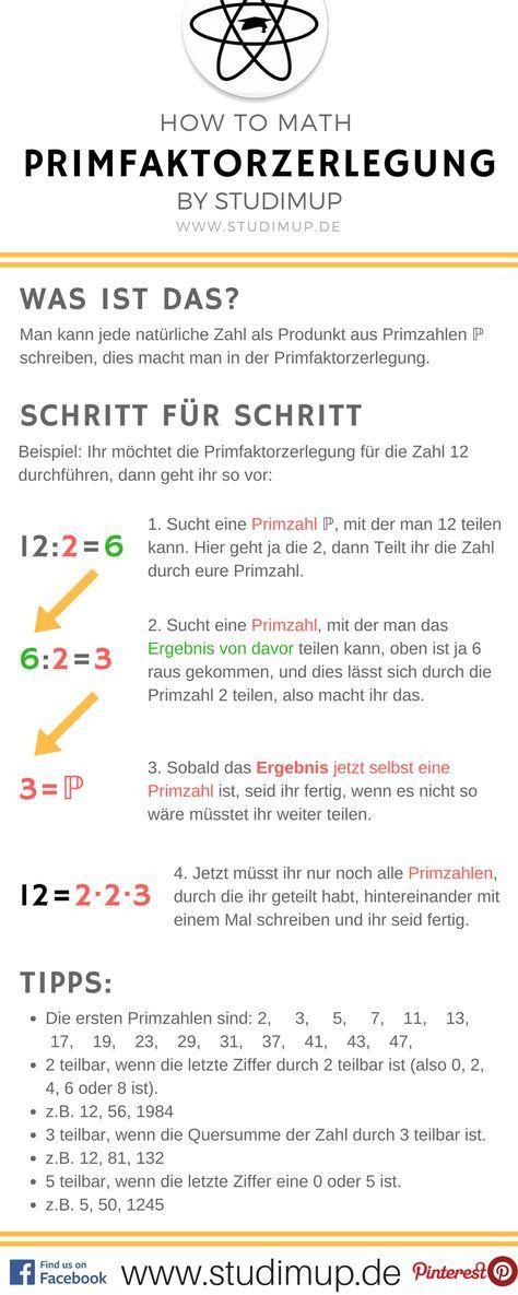 Die Primfaktorzerlegung Einfach Erklart Im Mathe Spickzettel Von Studimup Auf Unserer Website Findet Ihr Ausfuhrliche Primfaktorzerlegung Mathe Formeln Mathe
