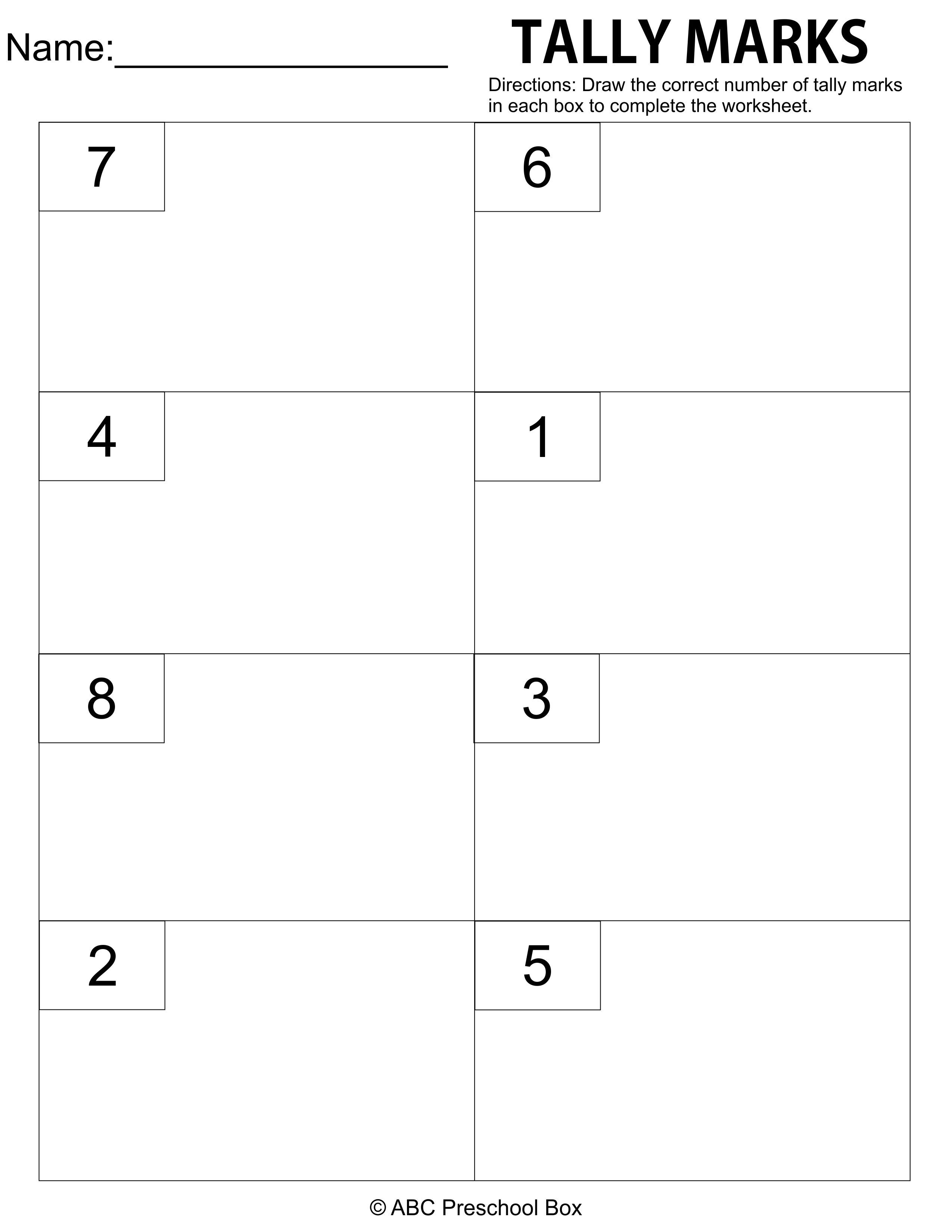 Tally marks preschool worksheet from abcpreschoolbox.com   Letter  recognition worksheets [ 3300 x 2550 Pixel ]