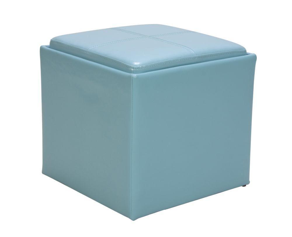 Groovy Homelegance Ladd Blue Pu Storage Cube Ottoman In 2019 Creativecarmelina Interior Chair Design Creativecarmelinacom