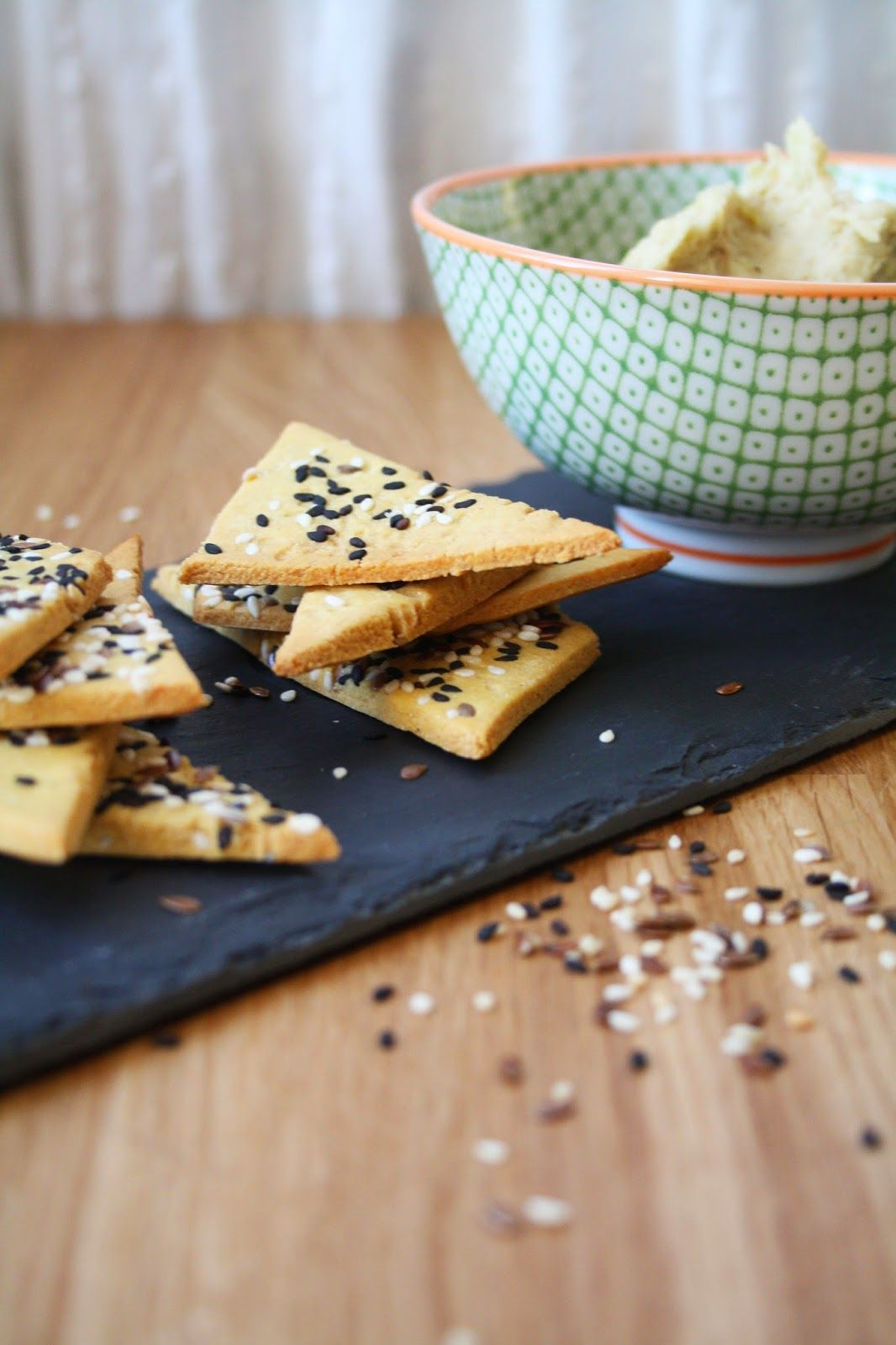 Sesame Sprinkled Chickpea Crackers with a Roasted Leek and White Bean Dip