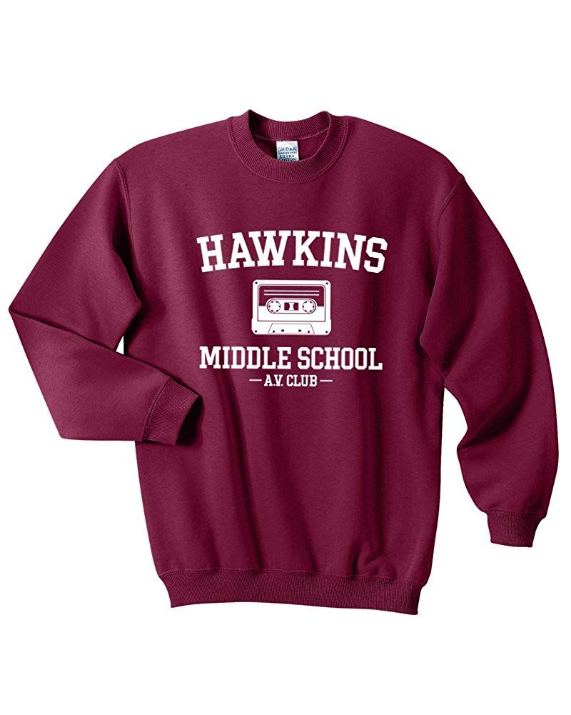 Stranger Things Mars NY Felpa con Cappuccio Hawkins Middle School AV Club
