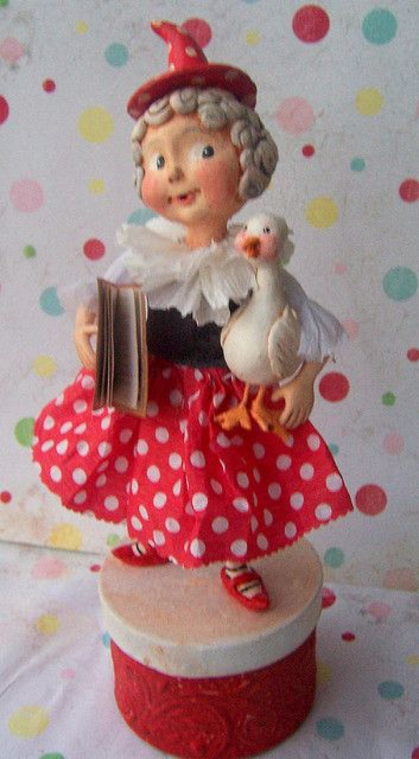 PAPER CLAY  Mother Goose..side pose by thepolkadotpixie via Flickr #papermachecrafts #paper #mache #crafts #disney