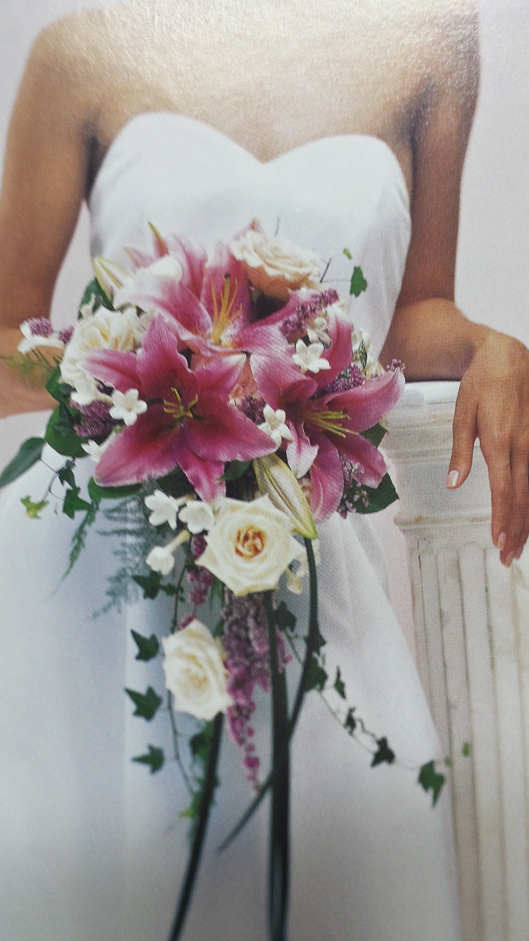 Cascading Wedding Bouquet Of Pink Oriental Lilies And Open Roses