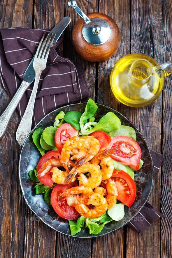 salad by tycoon101. salad with shrimps on plate and on a table #AD #salad, #shrimps, #table, #plate