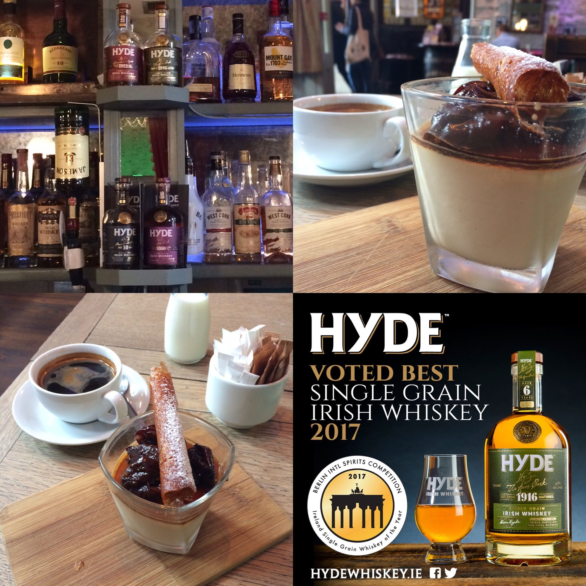Coffee Hyde Rum Cask Whiskey Mousse Served With Soaked Prunes And Dark Chocolate Available