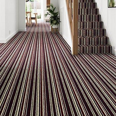 Best Red Striped Carpet Stair Hallway Blenheim Stripe Burgundy 400 x 300