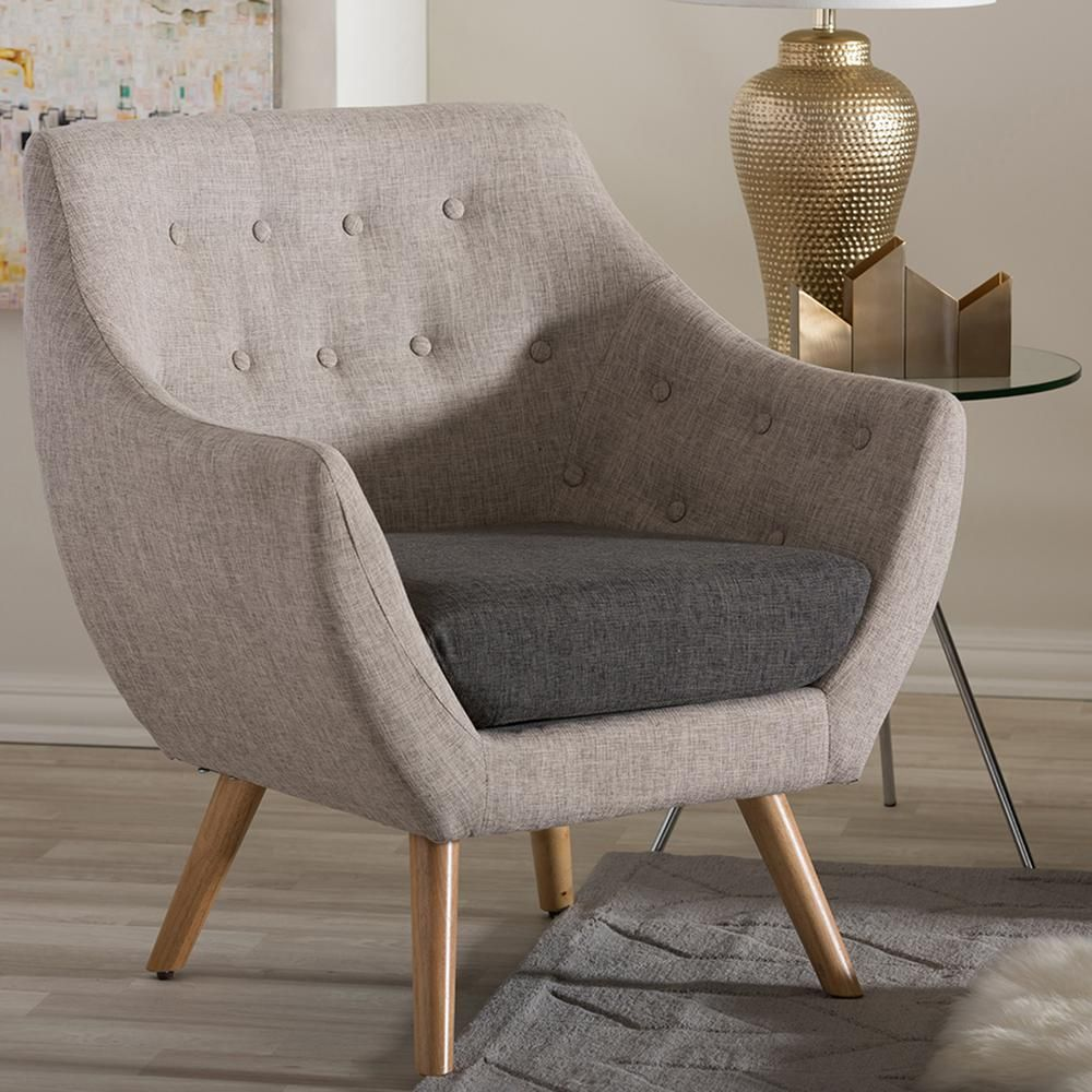Astrid Scandinavian Beige Fabric Upholstered Accent Chair