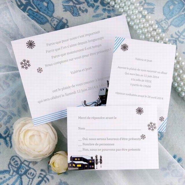 faire part mariage neige
