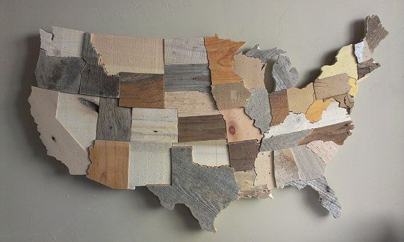 Contiguous Usa Map Reclaimed Wood Wall Art State Art United States Map United States Wood Us Map Barn Wood Pallet Wood Up Reclaimed Wood Wall Art Wood Wood Map