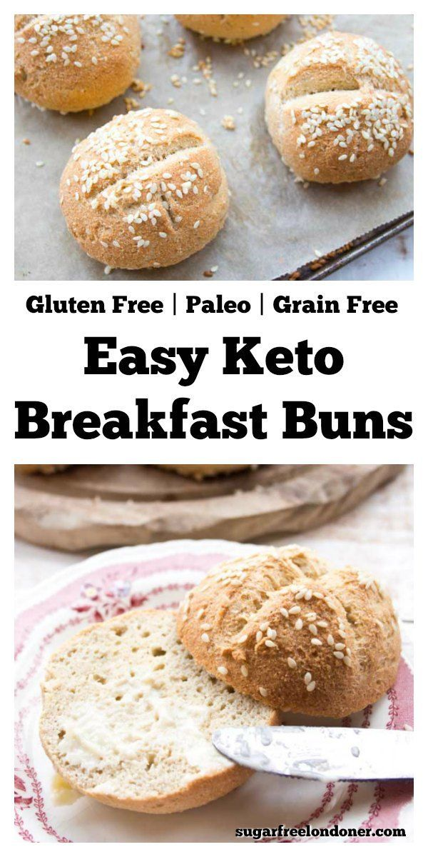Soft and pillowy Keto buns that taste similar to wheat bread, but with a fraction of the carbs! They are easy to make and work with both sweet and savoury toppings. Great for breakfast, these low carb rolls can also double up as a burger bun. The recipe is gluten free, Paleo and dairy free. #lowcarb #ketobuns #ketorolls via @sugarfreelondon