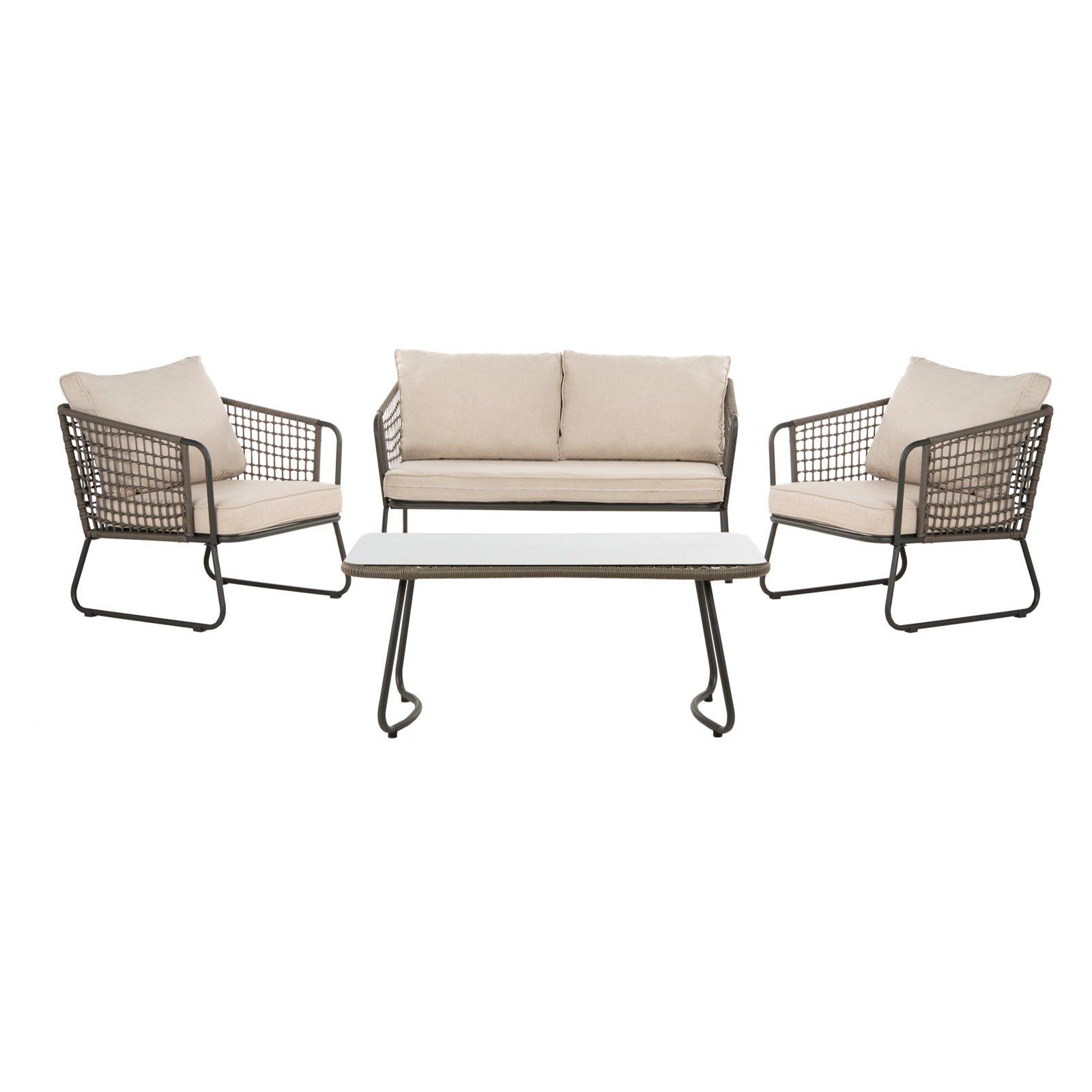 outdoor safavieh benjin wicker 4 piece patio conversation set in rh pinterest com