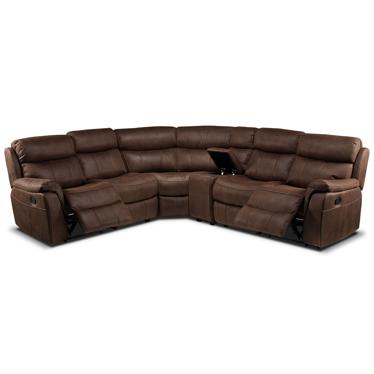 Vaquero 6 Piece Reclining Sectional Saddle Brown Leon s