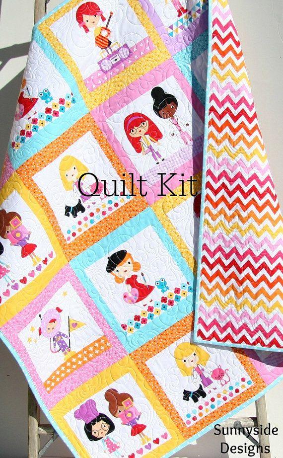 Quilt Kit Remix Girlfriends Anne Kelle Cheater Panel, Simple Quick ... : baby patchwork quilt kits - Adamdwight.com