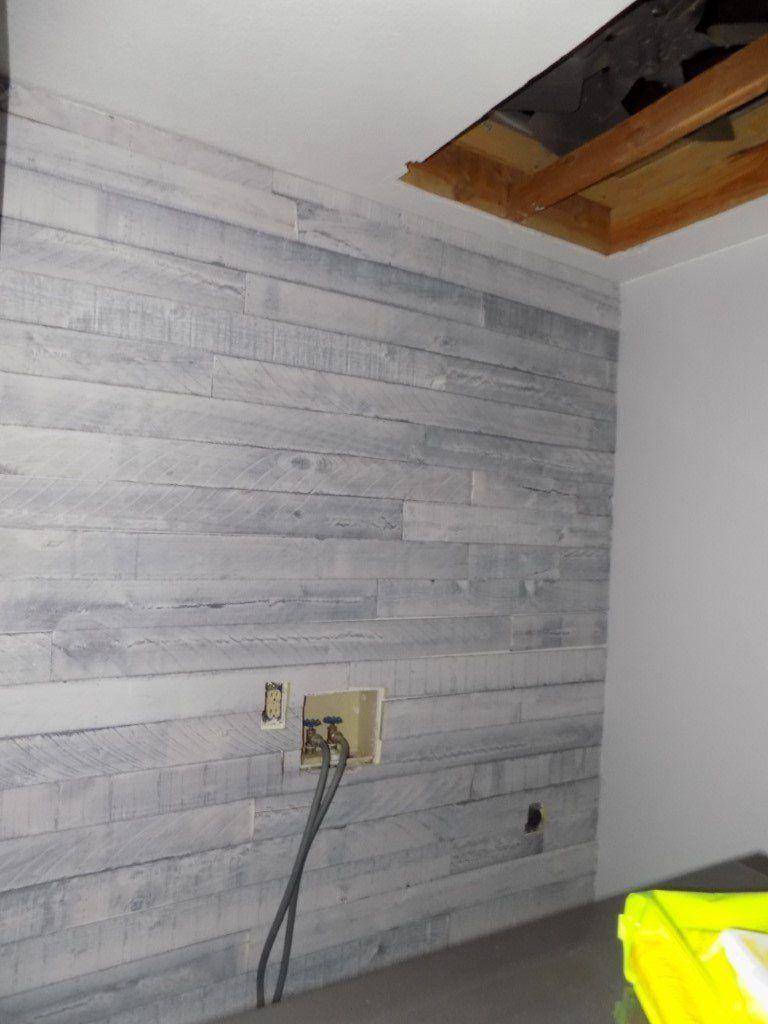 Diy Weathered Wood Plank Wall Laundry