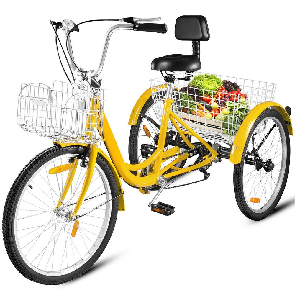 """26/"""" 7-Speed Adult 3 Wheel Tricycle Trike Bicycle Bike Cruise Double Basket Red"""
