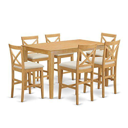 East west furniture capb7h oak c 7 piece pub table and 6 bar stools east west furniture capb7h oak c 7 piece pub table and 6 bar stools with backs set welcome home pinterest bar stool stools and kitchens watchthetrailerfo