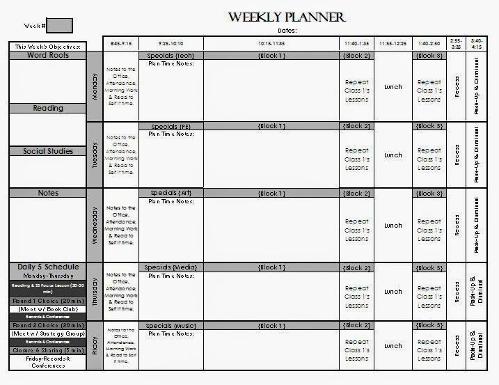 Check Out My Weekly Lesson Planning Page Templates! For Elementary