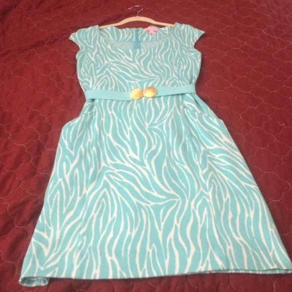 Lilly Pulitzer skirt and belt Adorable Lilly dress and matching belt, belt has good sea shells that clasp at the waist. Pockets. Nice soft material. Size small. Never worn. Very pretty color ! Lilly Pulitzer Skirts